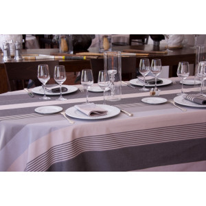 Coated tablecloth Ottoman Rhune in basque linen