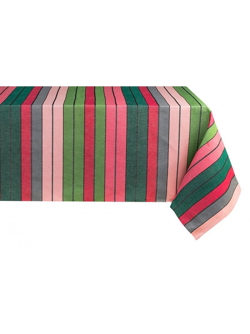 Cotton and Linen tablecloth Eugénie Rose-Vert tableware basque linen