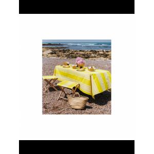 Cotton and Linen tablecloth Yvonne Jaune tableware basque linen