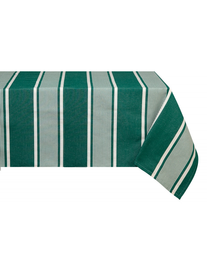 Cotton and Linen tablecloth Yvonne Vert tableware basque linen