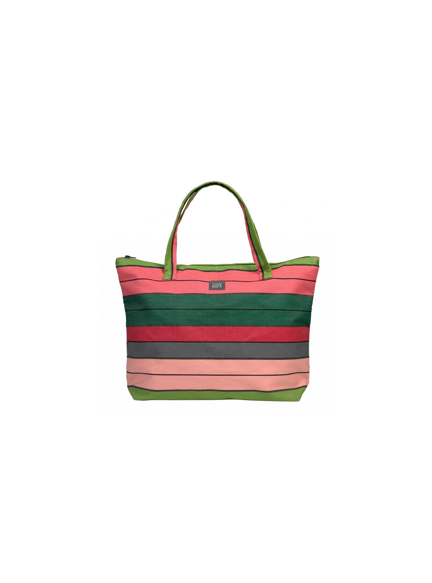 Juliette Eugénie Rose/Vert sac cabas en tissu basque