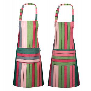 Tablier de cuisine Eugénie Rose/Vert, linge de cuisine basque