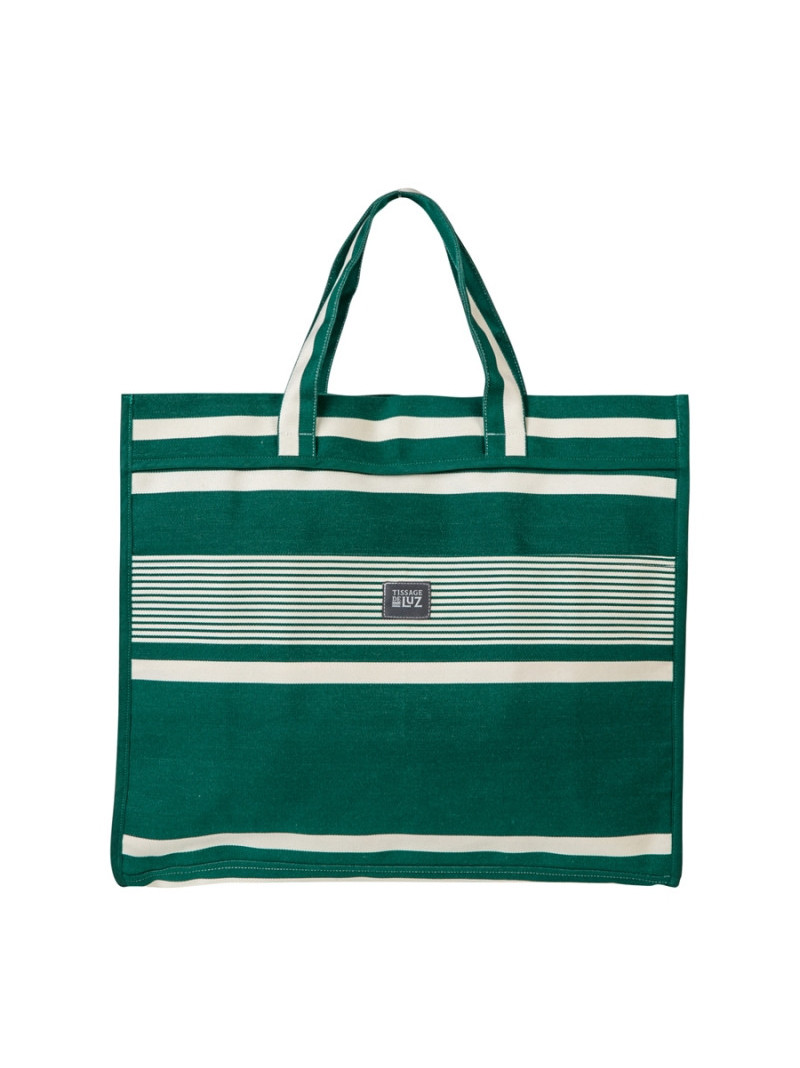 Sac Véra Yvonne Vert sac cabas en tissu basque