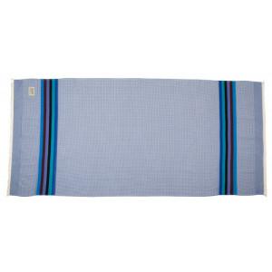 Drap de Bain Azur et serviette de plage nid d abeille en tissu basque