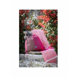 Drap de bain Cerise et serviette de plage nid d abeille en tissu basque