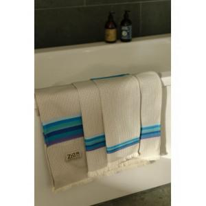 Drap de Bain Gris/Ciel et serviette de plage nid d abeille en tissu basque