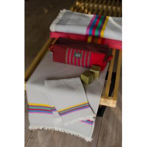 Drap de Bain Gris/Toucan et serviette de plage nid d abeille en tissu basque