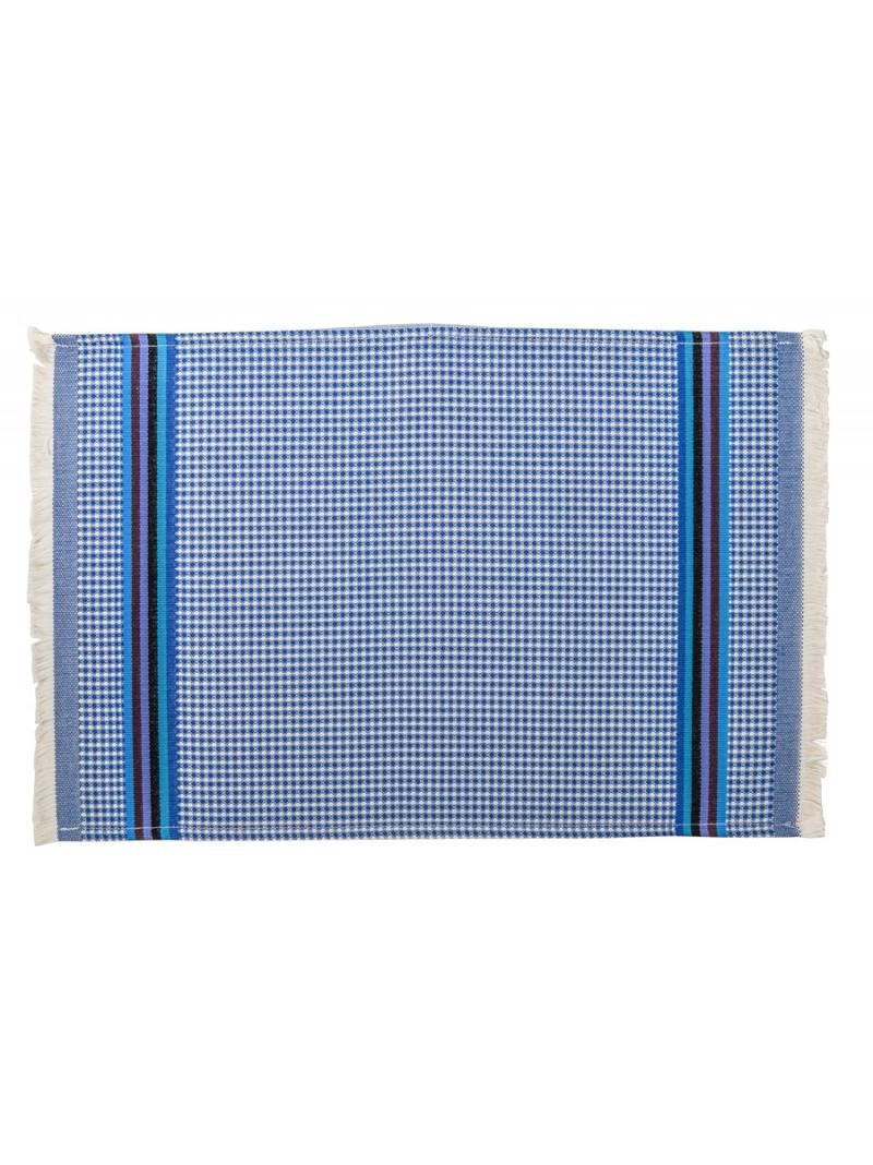 Serviette invité Azur linge de toilette nid d abeille en tissu basque