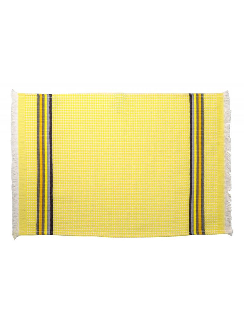 Serviette invité Citron linge de toilette nid d abeille en tissu basque