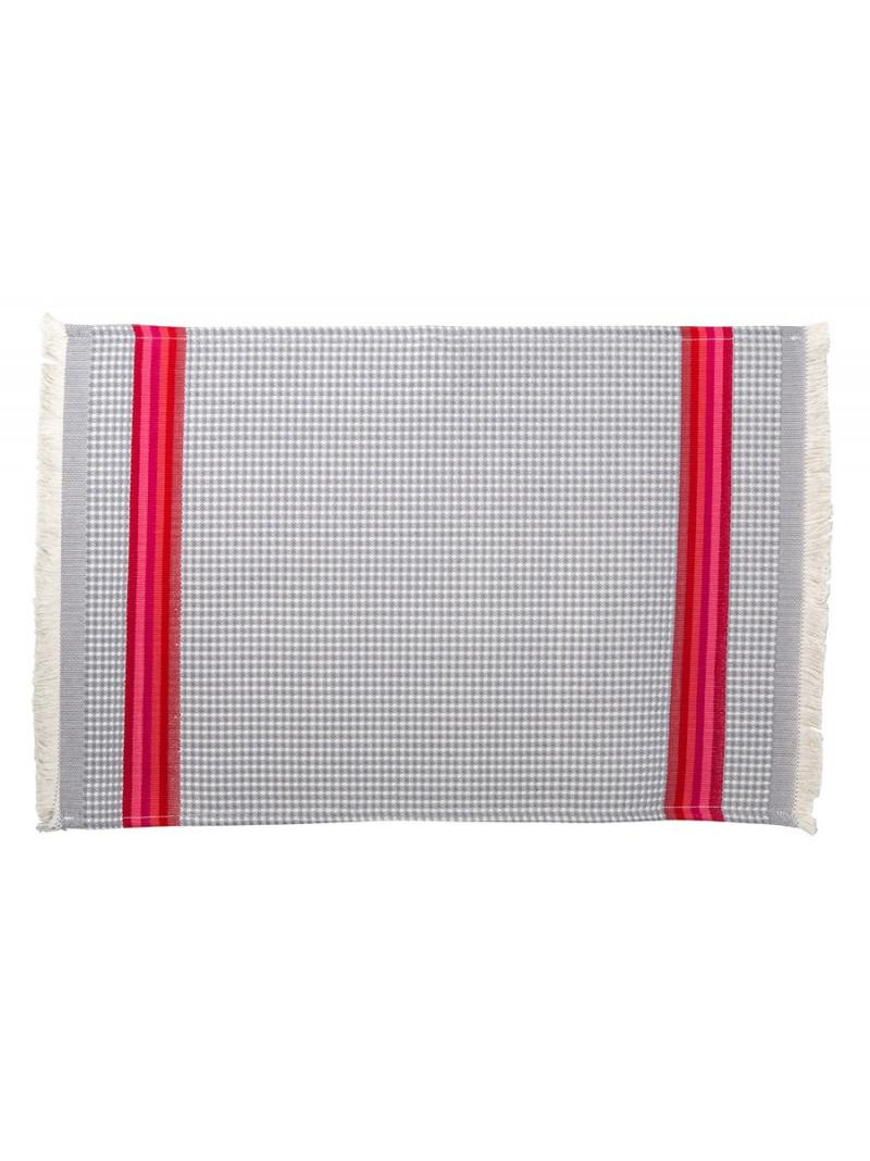 Serviette invité Gris/Rose linge de toilette nid d abeille en tissu basque