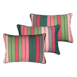 Housse de coussin Eugénie Rose/Vert linge de maison basque