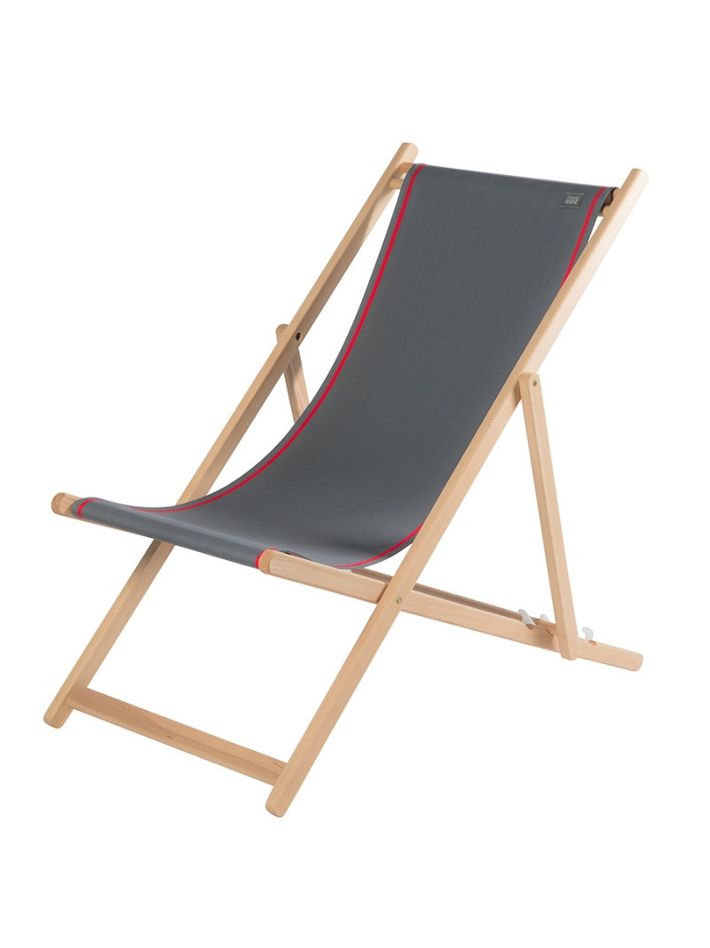Deckchair Uni Ardoise basque linen deckchairs