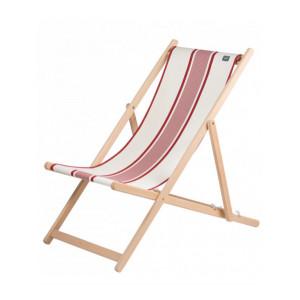 Transat Maïté Rouge en tissu basque chaise longue chilienne basque