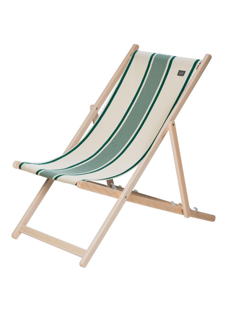Transat Maïté Vert en tissu basque chaise longue chilienne basque