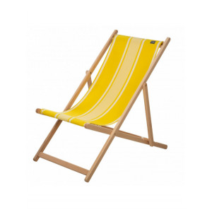 Transat Yvonne Jaune en tissu basque chaise longue chilienne basque