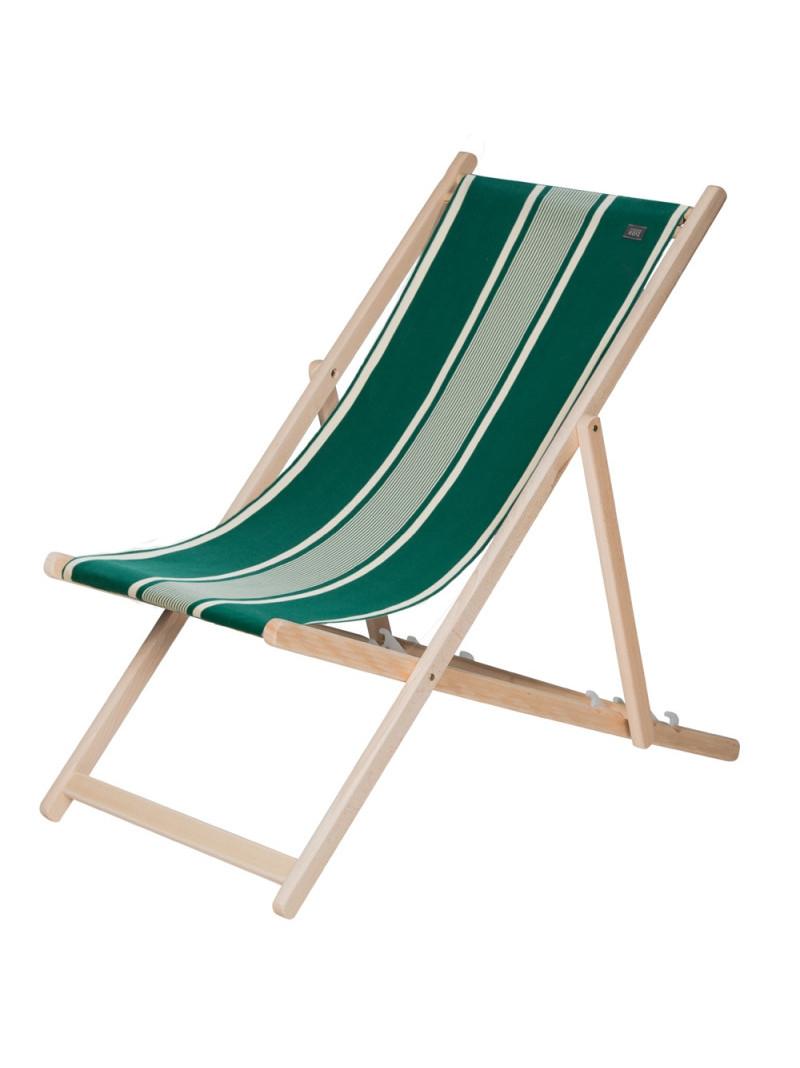 Transat Yvonne Vert en tissu basque chaise longue chilienne basque