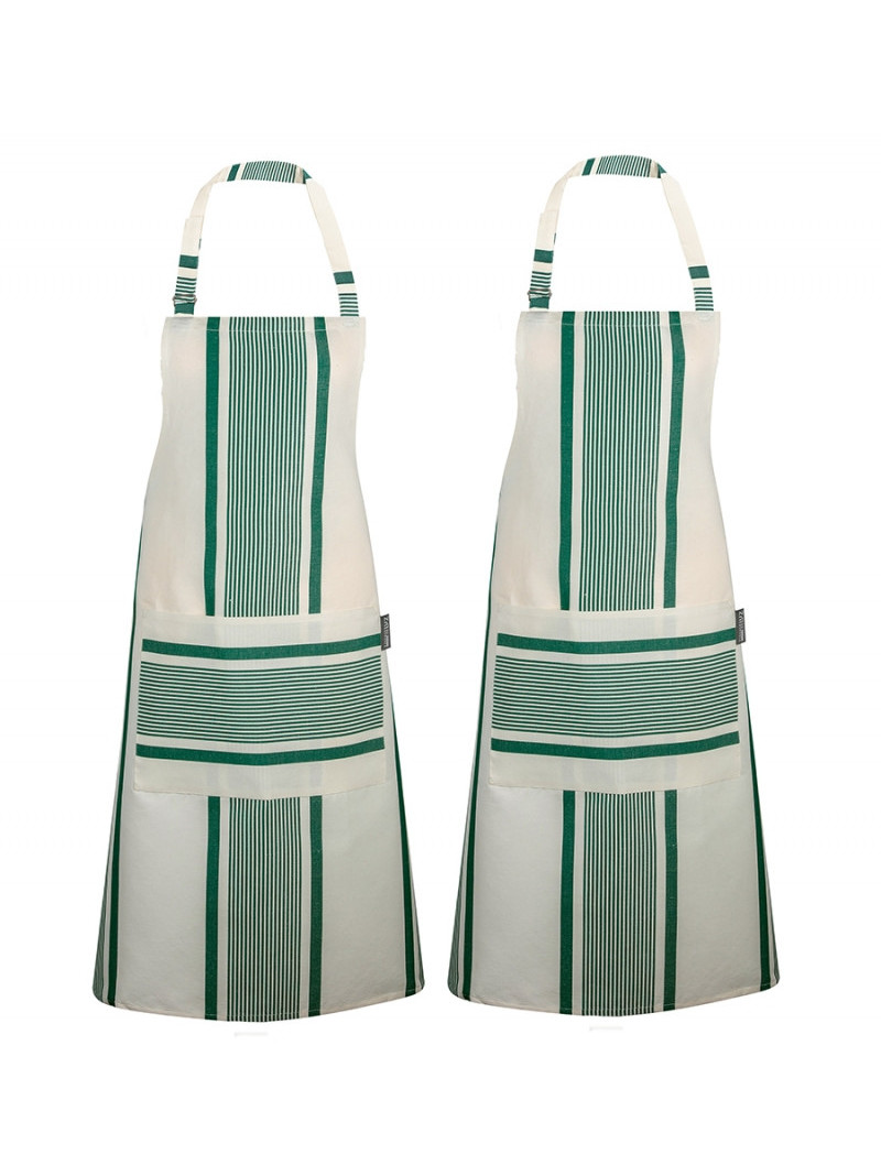 Tablier de cuisine Maïté Vert, linge de cuisine basque
