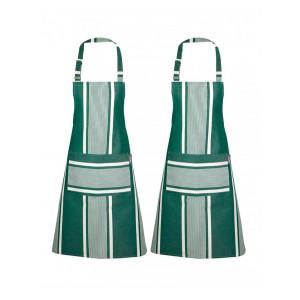 Tablier de cuisine Yvonne Vert, linge de cuisine basque