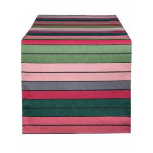 Chemin de table Eugénie Rose-Vert linge de table basque