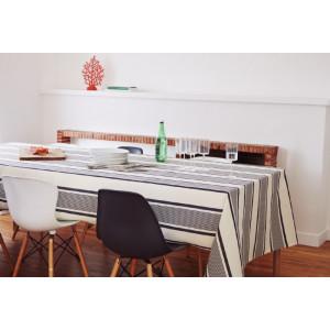 Coated tablecloth Maïté Encre tableware basque linen